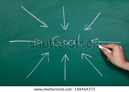 Hand Drawn Arrows Gathering Over Goal On Chalkboard - stock photo