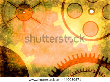 Hand drawn background with gear wheel in brown and yellow colors. Abstract grunge background with mechanism of watch. Series of Drawn Grunge, Oil, Pastel, Chalk and Inc Backgrounds. - stock photo