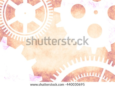 Hand drawn background with gear wheel in pink colors. Abstract grunge background with mechanism of watch. Series of Drawn Grunge, Oil, Pastel, Chalk and Inc Backgrounds. - stock photo