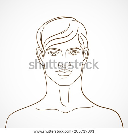 Hand drawn background with young guy in sketch style. Fashion, glamor, advertising. Beautiful fashion model. - stock photo