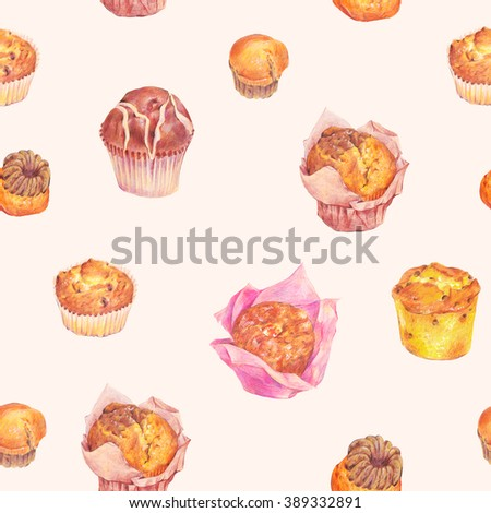 Hand drawn baking seamless pattern, muffins with chocolate, jam and raisins, Retro pencil food illustration on polka dot background - stock photo