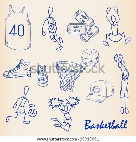 Hand Drawn Basketball Icon Set - stock photo