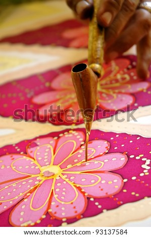 Hand drawn batik chanting on pure silk - stock photo