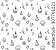 Hand drawn birthday seamless pattern with cupcakes, balloons, gift boxes etc in black and white (raster version) - stock photo