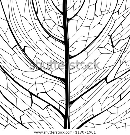 Hand drawn black and white pattern of the leaf structure. Raster version of the vector image - stock photo