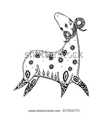Hand-drawn black and white Zentangle Style Illustration of   Aries - stock photo
