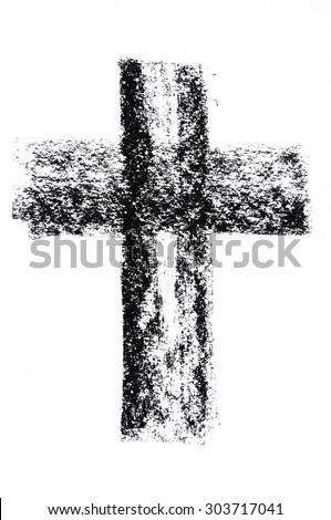 Hand drawn black grunge cross - stock photo