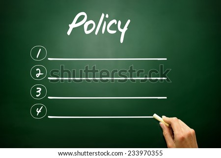 Hand drawn blank Policy list business concept on blackboard - stock photo