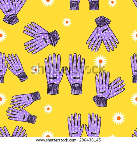 Hand-drawn blue garden gloves with daisy print, seamless design with stripes. High-resolution raster JPEG version. - stock photo