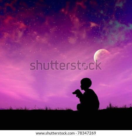 Hand drawn boy and little dog silhouettes,magic sky with moon - stock photo