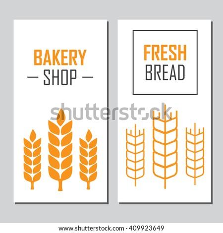Hand drawn bread horizontal banners  - stock photo