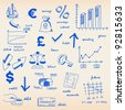Hand Drawn Budget and Finance Icon Set - stock vector