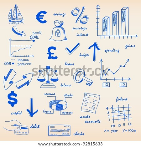 Hand Drawn Budget and Finance Icon Set - stock photo