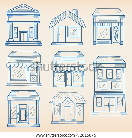 Hand Drawn Buildings Icon Set - stock photo
