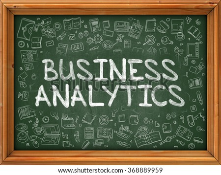 Hand Drawn Business Analytics on Green Chalkboard. Hand drawn Doodle Icons Around Chalkboard. Modern Illustration with Line Style. - stock photo