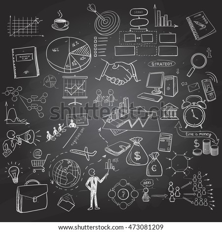 Hand drawn business icons set on black board. Includes arrows, diagrams, puzzle pieces, thumbs up, money, key to success concept and more. Chalkboard effect.