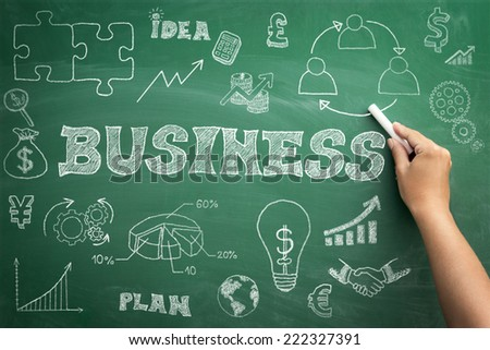 Hand drawn business icons set with arrows, diagrams and puzzle pieces on green chalkboard - stock photo
