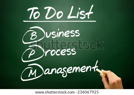Hand drawn Business process management (BPM) in To Do List, concept on blackboard - stock photo