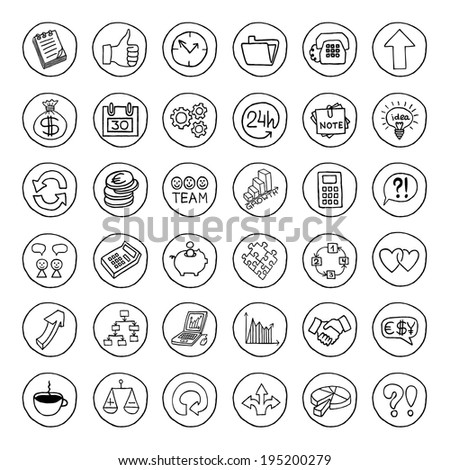 Hand drawn business set of buttons with arrows, diagrams, puzzle pieces, thumbs up and more. - stock photo