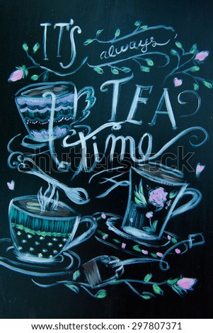 Hand drawn cafe poster with collage, different style words. Lettering design signboard for confectionery.Tea word. Tea party. - stock photo