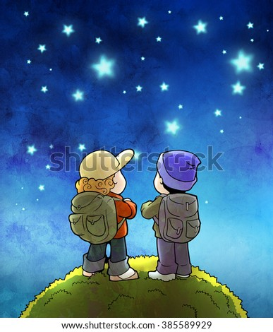 Hand drawn cartoon illustration of two tourists wearing hiker outfit, standing on the hill, looking around at night