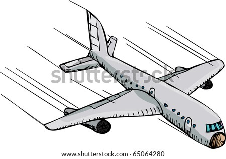 Hand-drawn cartoon of a passenger plane flying downward fast through the air. - stock photo