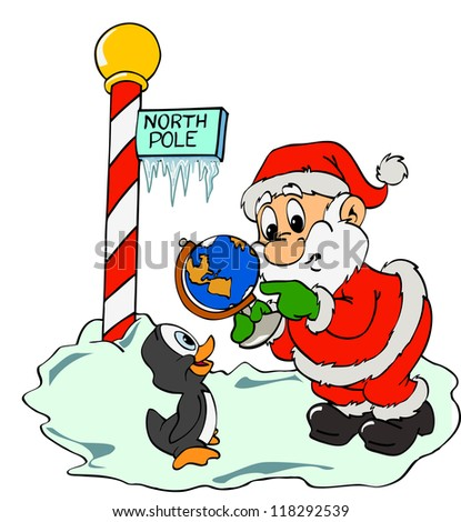 Hand drawn cartoon Santa giving directions/Santa Claus & Lost Penguin