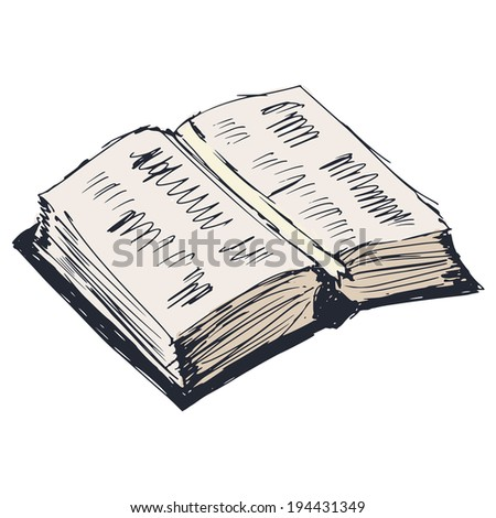 hand drawn, cartoon, sketch illustration of open book - stock photo