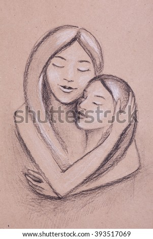 hand drawn charcoal sketch portrait of mother and kid hugging - stock photo