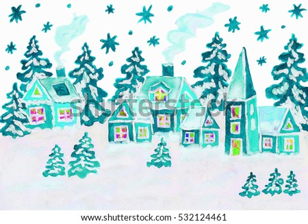 Hand drawn Christmas picture, winter landscape with houses in blue colours, gouache and watercolours.