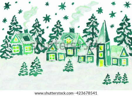 Hand drawn Christmas picture, winter landscape with houses in green colours, gouache and watercolours.  - stock photo