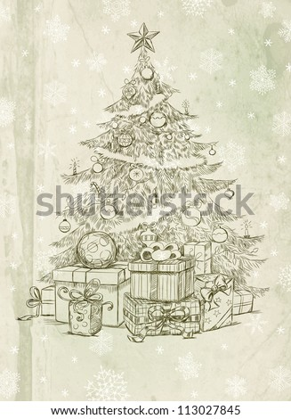 Hand drawn Christmas tree and gifts - stock photo