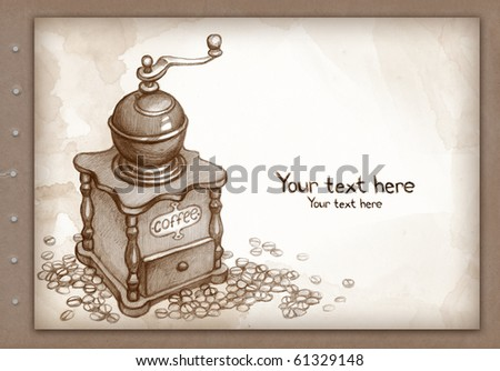 Hand drawn coffee grinder. Pencil sketch - stock photo
