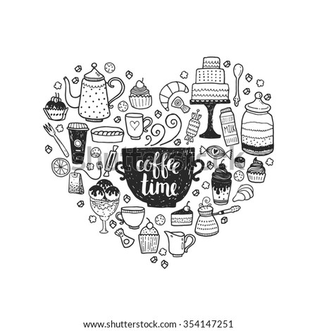 Hand drawn Coffee time illustration, doodle set with teapots, glass, cupcake, decoration, tea, ice cream, cup and sweets of a heart - stock photo
