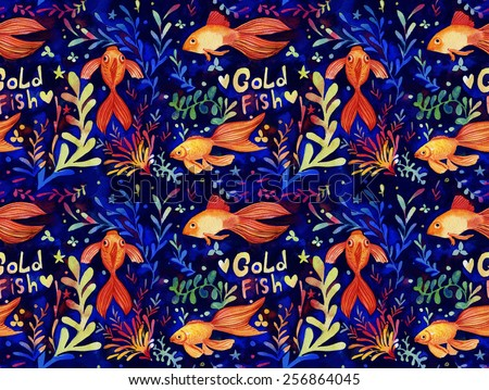 Hand drawn colorful seamless pattern with gold fish and sea weed.  Hand painted watercolor illustration.  Texture for invitations, wrapping paper, cards and other designs. - stock photo