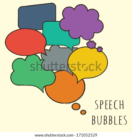 Hand-drawn, colorful speech bubbles isolated on beige. Raster copy - stock photo