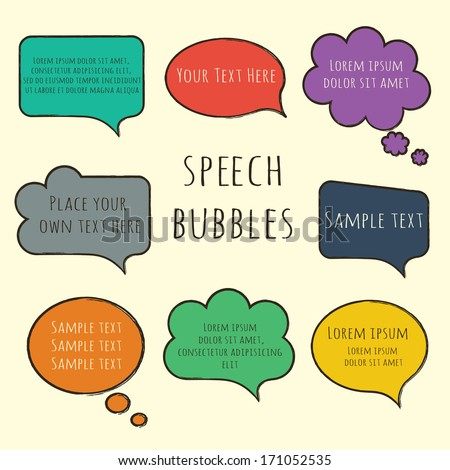 Hand-drawn, colorful speech bubbles with sample text isolated on beige. Raster copy - stock photo