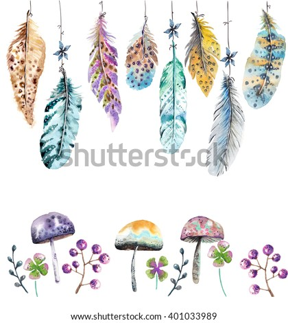 Hand drawn colorful watercolor feathers and mushrooms background, beautiful illustration