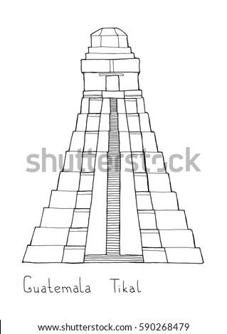 mayan pyramid coloring pages - photo#19