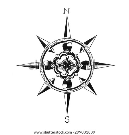 hand drawn compass rose, travel vacation or explore symbol, direction on maps icon
