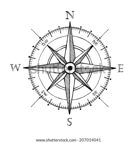 Hand drawn compass wind rose symbol - stock photo