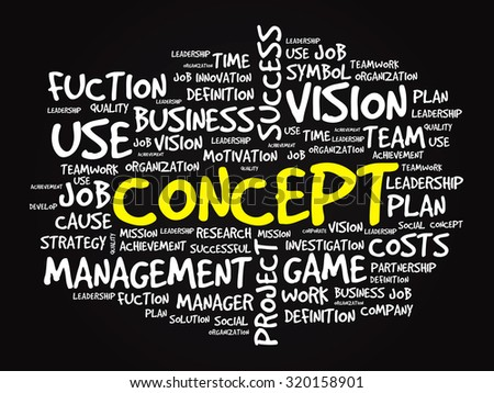 Hand drawn CONCEPT business in word tag cloud background - stock photo