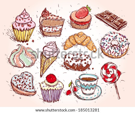 Hand drawn confectionery set croissant Cupcake candy marshmallow - stock photo