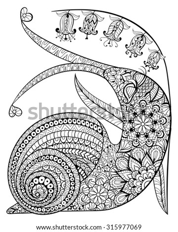 Hand drawn contented Snail and flower for adult anti stress Coloring Page with high details isolated on white background, illustration in zentangle style. Monochrome sketch. Animal collection.