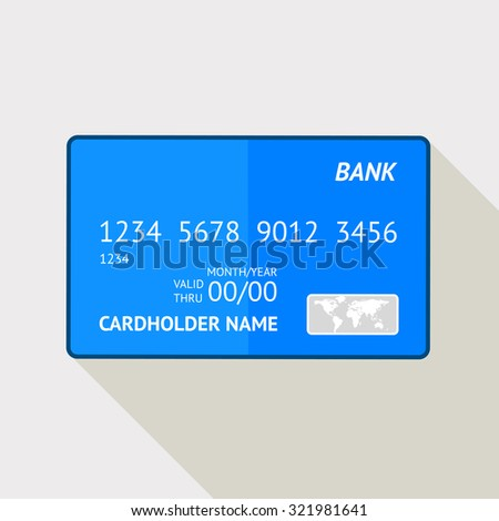 Hand drawn credit card, abstract image with shadow