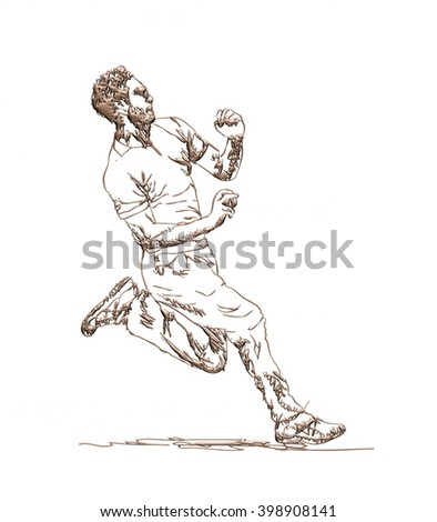Hand-drawn CRICKETER sketch in 3d rendered illustration on isolated white background.