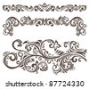 Hand-drawn curly floral elements and letterhead. - stock photo