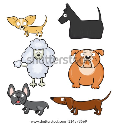 Hand-drawn cute cartoon dogs. Raster version. - stock photo