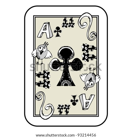 hand drawn deck of cards, doodle ace of clubs isolated on white background - stock photo