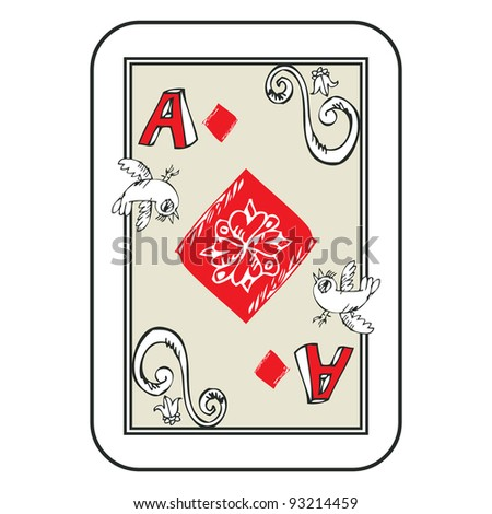 hand drawn deck of cards, doodle ace of diamonds isolated on white background - stock photo